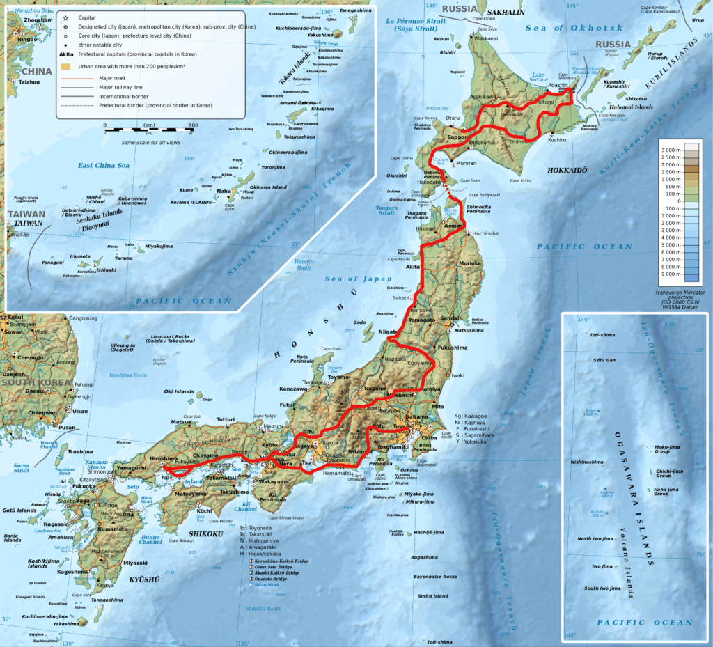 Topographic map of Japan with route outlined